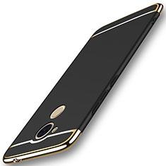 Schutzhülle Luxus Metall Rahmen und Kunststoff Schutzhülle Tasche M01 für Huawei Enjoy 6S Schwarz