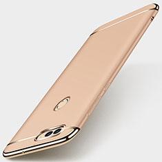 Schutzhülle Luxus Metall Rahmen und Kunststoff Schutzhülle Tasche M01 für Huawei Enjoy 7S Gold