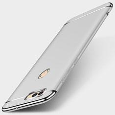 Schutzhülle Luxus Metall Rahmen und Kunststoff Schutzhülle Tasche M01 für Huawei Enjoy 7S Silber