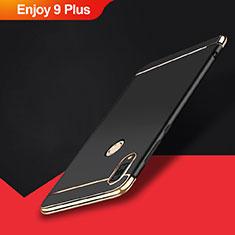 Schutzhülle Luxus Metall Rahmen und Kunststoff Schutzhülle Tasche M01 für Huawei Enjoy 9 Plus Schwarz