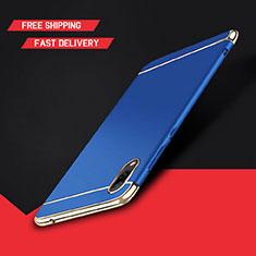 Schutzhülle Luxus Metall Rahmen und Kunststoff Schutzhülle Tasche M01 für Huawei Y7 Prime (2019) Blau