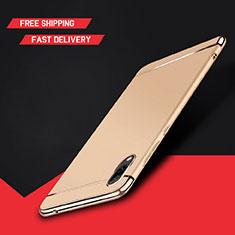 Schutzhülle Luxus Metall Rahmen und Kunststoff Schutzhülle Tasche M01 für Huawei Y7 Prime (2019) Gold