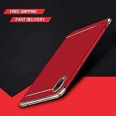 Schutzhülle Luxus Metall Rahmen und Kunststoff Schutzhülle Tasche M01 für Huawei Y7 Prime (2019) Rot