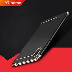 Schutzhülle Luxus Metall Rahmen und Kunststoff Schutzhülle Tasche M01 für Huawei Y7 Prime (2019) Schwarz