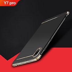 Schutzhülle Luxus Metall Rahmen und Kunststoff Schutzhülle Tasche M01 für Huawei Y7 Pro (2019) Schwarz