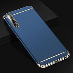 Schutzhülle Luxus Metall Rahmen und Kunststoff Schutzhülle Tasche M01 für Huawei Y9s Blau