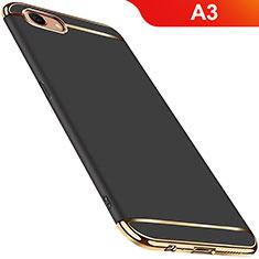 Schutzhülle Luxus Metall Rahmen und Kunststoff Schutzhülle Tasche M01 für Oppo A3 Schwarz