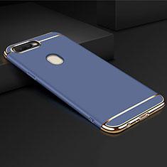 Schutzhülle Luxus Metall Rahmen und Kunststoff Schutzhülle Tasche M01 für Oppo A7 Blau
