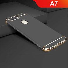 Schutzhülle Luxus Metall Rahmen und Kunststoff Schutzhülle Tasche M01 für Oppo A7 Schwarz
