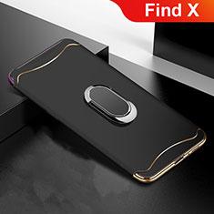 Schutzhülle Luxus Metall Rahmen und Kunststoff Schutzhülle Tasche M01 für Oppo Find X Schwarz