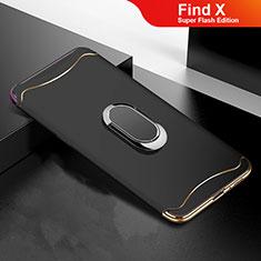 Schutzhülle Luxus Metall Rahmen und Kunststoff Schutzhülle Tasche M01 für Oppo Find X Super Flash Edition Schwarz