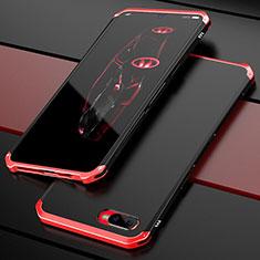 Schutzhülle Luxus Metall Rahmen und Kunststoff Schutzhülle Tasche M01 für Oppo R15X Rot und Schwarz