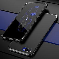 Schutzhülle Luxus Metall Rahmen und Kunststoff Schutzhülle Tasche M01 für Oppo R15X Schwarz