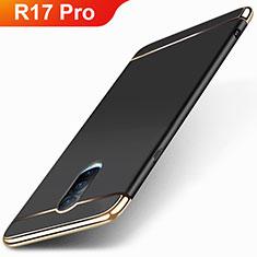 Schutzhülle Luxus Metall Rahmen und Kunststoff Schutzhülle Tasche M01 für Oppo R17 Pro Schwarz
