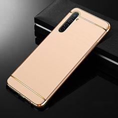 Schutzhülle Luxus Metall Rahmen und Kunststoff Schutzhülle Tasche M01 für Realme XT Gold
