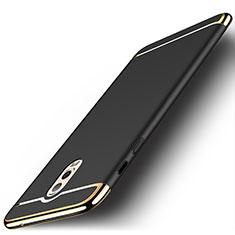 Schutzhülle Luxus Metall Rahmen und Kunststoff Schutzhülle Tasche M01 für Samsung Galaxy J7 Plus Schwarz
