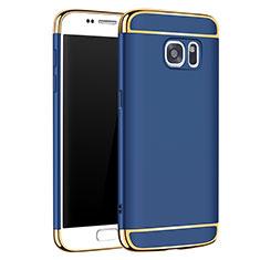 Schutzhülle Luxus Metall Rahmen und Kunststoff Schutzhülle Tasche M01 für Samsung Galaxy S7 G930F G930FD Blau