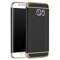Schutzhülle Luxus Metall Rahmen und Kunststoff Schutzhülle Tasche M01 für Samsung Galaxy S7 G930F G930FD Schwarz