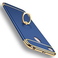 Schutzhülle Luxus Metall Rahmen und Kunststoff Schutzhülle Tasche M01 für Xiaomi Redmi 4X Blau