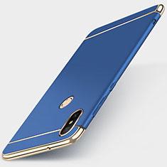 Schutzhülle Luxus Metall Rahmen und Kunststoff Schutzhülle Tasche M01 für Xiaomi Redmi 6 Pro Blau
