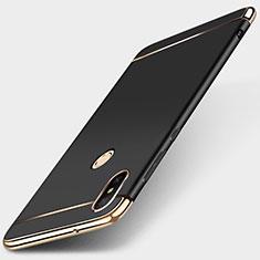 Schutzhülle Luxus Metall Rahmen und Kunststoff Schutzhülle Tasche M01 für Xiaomi Redmi 6 Pro Schwarz