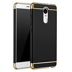 Schutzhülle Luxus Metall Rahmen und Kunststoff Schutzhülle Tasche M01 für Xiaomi Redmi Note 3 MediaTek Schwarz