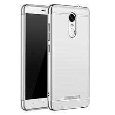 Schutzhülle Luxus Metall Rahmen und Kunststoff Schutzhülle Tasche M01 für Xiaomi Redmi Note 3 MediaTek Silber
