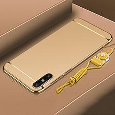 Schutzhülle Luxus Metall Rahmen und Kunststoff Schutzhülle Tasche M03 für Huawei Enjoy 10e Gold
