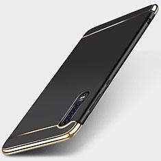Schutzhülle Luxus Metall Rahmen und Kunststoff Schutzhülle Tasche M03 für Huawei P30 Schwarz