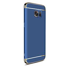 Schutzhülle Luxus Metall Rahmen und Kunststoff Schutzhülle Tasche M05 für Samsung Galaxy S7 Edge G935F Blau