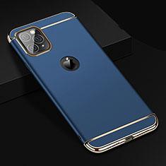 Schutzhülle Luxus Metall Rahmen und Kunststoff Schutzhülle Tasche T01 für Apple iPhone 11 Pro Max Blau