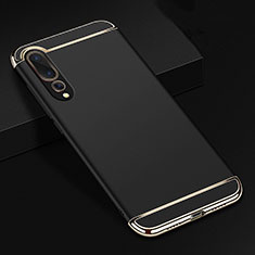Schutzhülle Luxus Metall Rahmen und Kunststoff Schutzhülle Tasche T01 für Huawei P20 Pro Schwarz