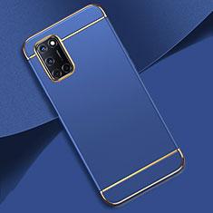 Schutzhülle Luxus Metall Rahmen und Kunststoff Schutzhülle Tasche T01 für Oppo A92 Blau
