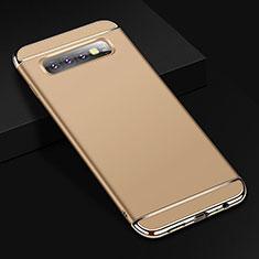 Schutzhülle Luxus Metall Rahmen und Kunststoff Schutzhülle Tasche T01 für Samsung Galaxy S10 Plus Gold