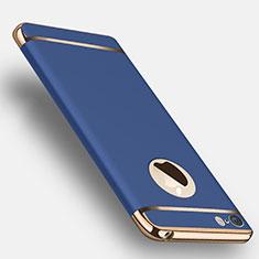 Schutzhülle Luxus Metall Rahmen und Kunststoff T01 für Apple iPhone 5S Blau