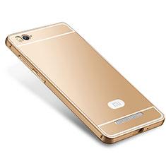 Schutzhülle Luxus Metall Rahmen und Silikon Schutzhülle Tasche M01 für Xiaomi Mi 4i Gold