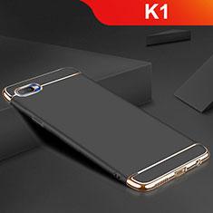 Schutzhülle Luxus Metall Rahmen und Silikon Schutzhülle Tasche M02 für Oppo K1 Schwarz