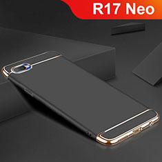 Schutzhülle Luxus Metall Rahmen und Silikon Schutzhülle Tasche M02 für Oppo R17 Neo Schwarz