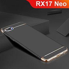 Schutzhülle Luxus Metall Rahmen und Silikon Schutzhülle Tasche M02 für Oppo RX17 Neo Schwarz