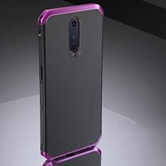 Schutzhülle Luxus Metall Rahmen und Silikon Schutzhülle Tasche M02 für Oppo RX17 Pro Violett