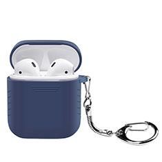 Schutzhülle Silikon Hülle Skin mit Karabiner für AirPods Ladekoffer Blau