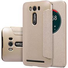 Schutzhülle Stand Tasche Leder für Asus Zenfone 2 Laser 6.0 ZE601KL Gold
