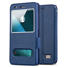 Schutzhülle Stand Tasche Leder für Huawei G Play Mini Blau