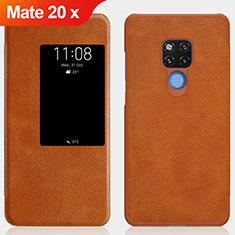 Schutzhülle Stand Tasche Leder für Huawei Mate 20 X 5G Braun