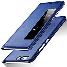 Schutzhülle Stand Tasche Leder für Huawei P10 Blau