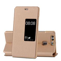 Schutzhülle Stand Tasche Leder für Huawei P9 Gold