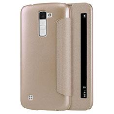 Schutzhülle Stand Tasche Leder für LG K10 Gold