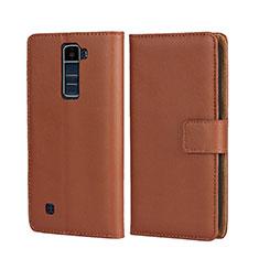 Schutzhülle Stand Tasche Leder für LG K7 Braun