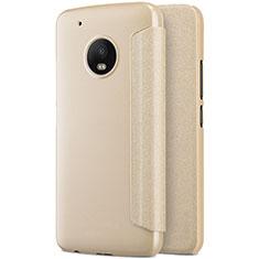 Schutzhülle Stand Tasche Leder für Motorola Moto G5 Plus Gold