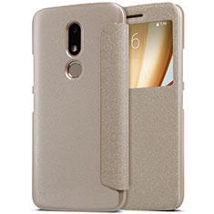 Schutzhülle Stand Tasche Leder für Motorola Moto M XT1662 Gold
